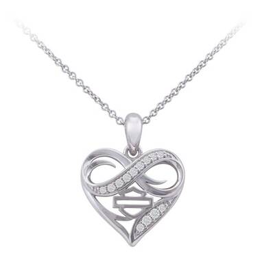Harley-Davidson Women's Infinity Crystal Thorn Heart Necklace, Sterling Silver - Wisconsin Harley-Davidson