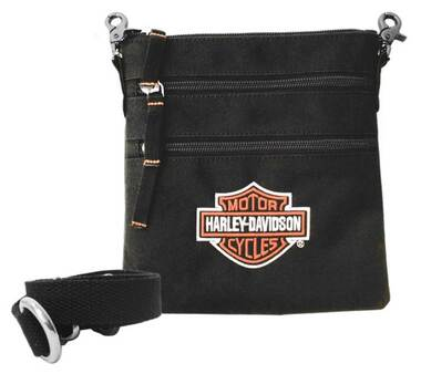 Harley-Davidson Women's Embroidered Bar & Shield Logo Clip Bag with Strap, Black - Wisconsin Harley-Davidson