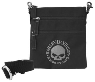 Harley-Davidson Women's Embroidered Willie G Skull Clip Bag with Strap, Black - Wisconsin Harley-Davidson