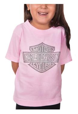 Harley-Davidson Girl's B&S Stones Short Sleeve Toddler T-Shirt - Light Pink - Wisconsin Harley-Davidson