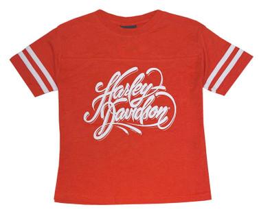 Harley-Davidson Girl's Highway Dreams Short Sleeve Toddler Football Tee, Orange - Wisconsin Harley-Davidson