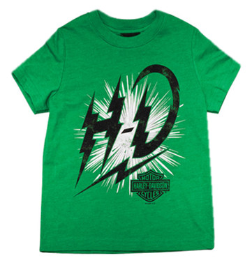 Harley-Davidson Boy's Shocks Short Sleeve Poly T-Shirt, Toddler & Youth, Green - Wisconsin Harley-Davidson