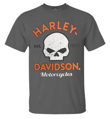 Harley-Davidson Men's Willie G Skull Short Sleeve Crew-Neck T-Shirt, Charcoal - Wisconsin Harley-Davidson