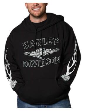 Harley-Davidson Men's Ghosted Flames Pullover Poly-Blend Fleece Hoodie, Black - Wisconsin Harley-Davidson