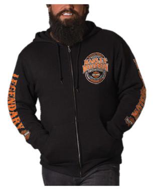 Harley-Davidson Men's Immune Zip-Up Poly-Blend Fleece Hooded Sweatshirt, Black - Wisconsin Harley-Davidson