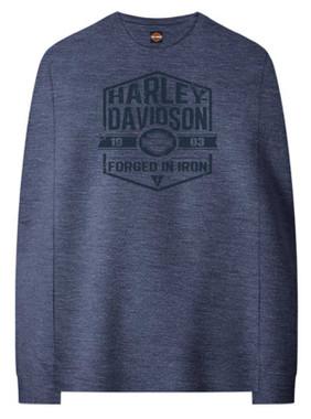 Harley-Davidson Men's Forged Pullover Poly-Blend Fleece Sweatshirt, Heather Blue - Wisconsin Harley-Davidson