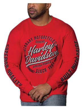 Harley-Davidson Men's Enthusiast Long Sleeve Crew-Neck Cotton T-Shirt, Red - Wisconsin Harley-Davidson