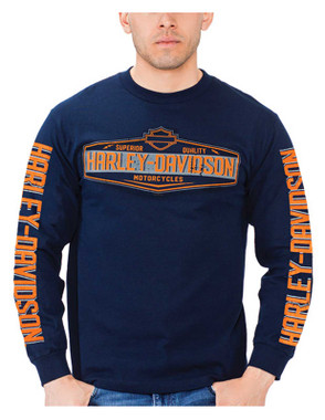 Harley-Davidson Men's Climb H-D Long Sleeve Crew-Neck Cotton T-Shirt, Navy - Wisconsin Harley-Davidson
