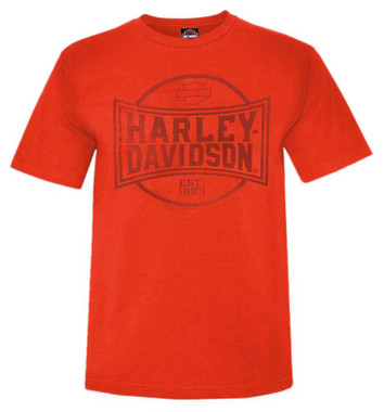 Harley-Davidson Men's Imperial Short Sleeve Crew-Neck Cotton T-Shirt - Orange - Wisconsin Harley-Davidson