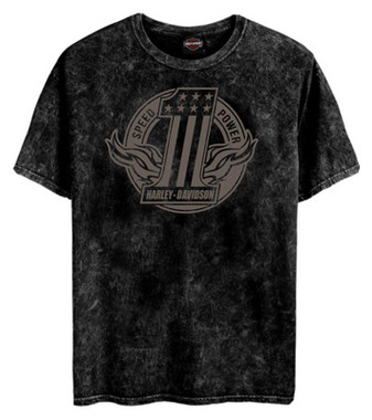 Harley-Davidson Men's Number One Short Sleeve Cotton T-Shirt - Black Marble - Wisconsin Harley-Davidson