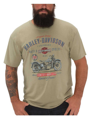Harley-Davidson Men's Old Faithful Short Sleeve Cotton Crew-Neck T-Shirt, Green - Wisconsin Harley-Davidson