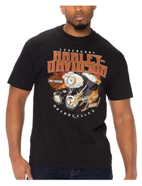 Harley-Davidson Men's Rustic Engine Short Sleeve Crew-Neck Cotton T-Shirt, Black - Wisconsin Harley-Davidson