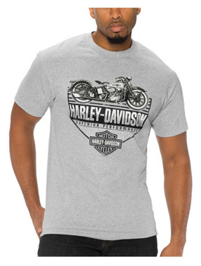 Harley-Davidson Men's No Filter Short Sleeve Poly-Blend T-Shirt, Athletic Gray - Wisconsin Harley-Davidson