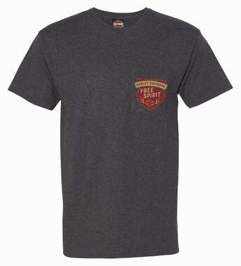 Harley-Davidson Men's Spirit Crest Chest Pocket Short Sleeve T-Shirt, Black - Wisconsin Harley-Davidson