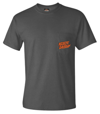Harley-Davidson Men's Lessons Chest Pocket Short Sleeve T-Shirt, Charcoal Gray - Wisconsin Harley-Davidson