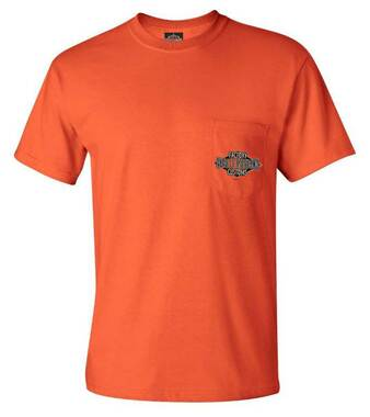 Harley-Davidson Men's Freight Chest Pocket Short Sleeve T-Shirt, Tango Orange - Wisconsin Harley-Davidson