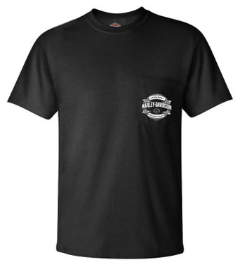 Harley-Davidson Men's Ineffable Chain Chest Pocket Short Sleeve T-Shirt, Black - Wisconsin Harley-Davidson