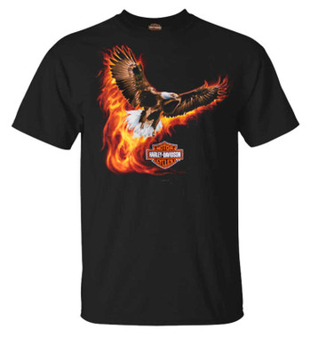 Harley-Davidson Men's Flying Blaze Eagle Short Sleeve Crew-Neck T-Shirt, Black - Wisconsin Harley-Davidson
