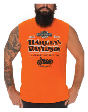 Harley-Davidson Men's My Mind Sleeveless Cotton Muscle Shirt, Bright Orange - Wisconsin Harley-Davidson