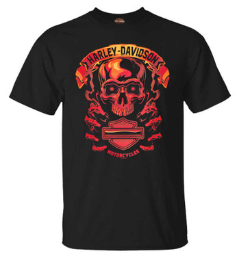 Harley-Davidson Men's Fire Skull Short Sleeve Crew-Neck Cotton T-Shirt, Black - Wisconsin Harley-Davidson