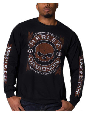 Harley-Davidson Men's Willie G Skull Long Sleeve Crew-Neck Cotton T-Shirt, Black - Wisconsin Harley-Davidson