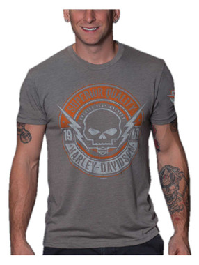 Harley-Davidson Men's Knockdown Skull Tri-Blend Short Sleeve T-Shirt, Gray - Wisconsin Harley-Davidson
