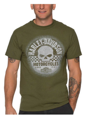 Harley-Davidson Men's Distressed Grunge Racer Short Sleeve Shirt, Military Green - Wisconsin Harley-Davidson