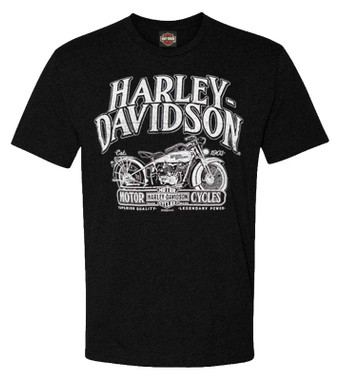 Harley-Davidson Men's Brand Remix Short Sleeve Poly-Blend T-Shirt, Black - Wisconsin Harley-Davidson