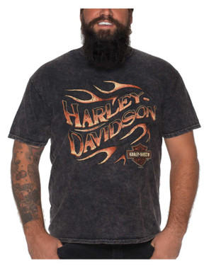 Harley-Davidson Men's Distressed Grunge Flame Short Sleeve T-Shirt, Mineral Wash - Wisconsin Harley-Davidson