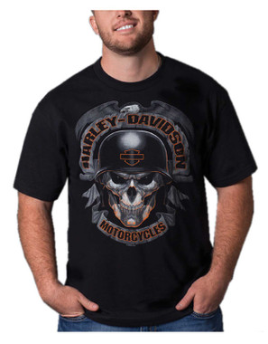 Harley-Davidson Men's Biker Skull Short Sleeve Crew-Neck Cotton T-Shirt, Black - Wisconsin Harley-Davidson