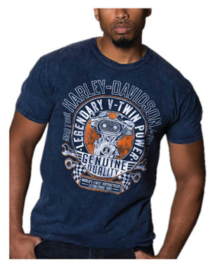 Harley-Davidson Men's Takeover V-Twin Short Sleeve T-Shirt, Navy Mineral Wash - Wisconsin Harley-Davidson