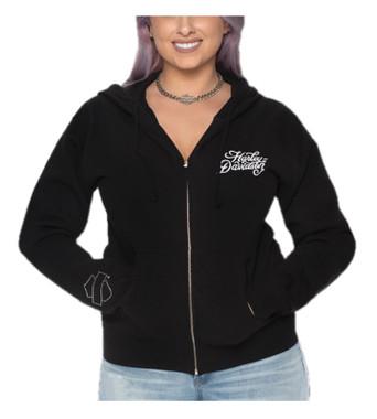 Harley-Davidson Women's Flocked H-D Zip-Up Poly-Blend Hooded Sweatshirt, Black - Wisconsin Harley-Davidson