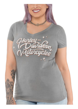 Harley-Davidson Women's Embellished Twinkle Short Sleeve V-Neck Tee, Gray - Wisconsin Harley-Davidson