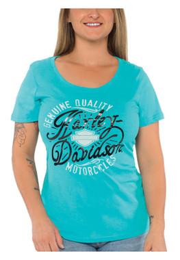 Harley-Davidson Women's Metallic H-D Short Sleeve Scoop Neck Cotton Tee, Blue - Wisconsin Harley-Davidson