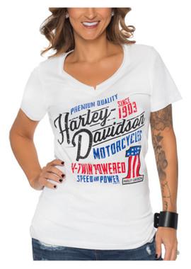 Harley-Davidson Women's Allstar Bling Short Sleeve Cotton V-Neck T-Shirt, White - Wisconsin Harley-Davidson