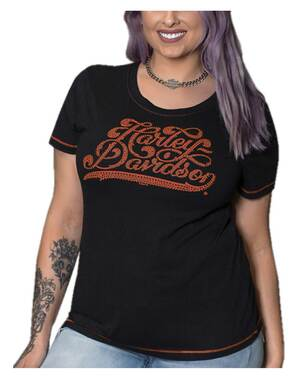 Harley-Davidson Women's Gnarly Bling Short Sleeve Poly-Blend Tee, Black - Wisconsin Harley-Davidson