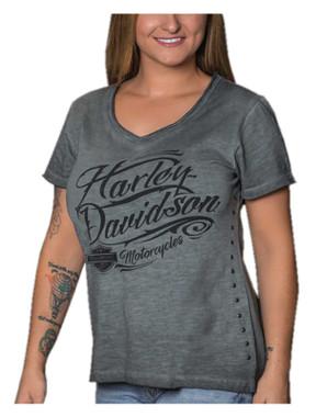 Harley-Davidson Women's Script Sensation V-Neck Short Sleeve Cotton Tee, Gray - Wisconsin Harley-Davidson