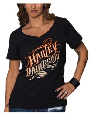 Harley-Davidson Women's Be Still Short Sleeve Cotton V-Neck T-Shirt, Black - Wisconsin Harley-Davidson