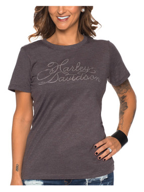 Harley-Davidson Women's Bliss Bling Short Sleeve Poly-Blend Crewneck Tee, Gray - Wisconsin Harley-Davidson