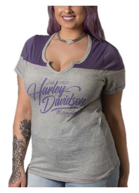 Harley-Davidson Women's Fine Lettering Notched V-Neck Short Sleeve Tee, Gray - Wisconsin Harley-Davidson