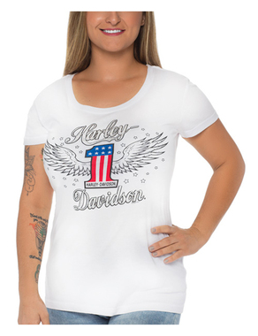 Harley-Davidson Women's Embellished #1 Winged Short Sleeve Cotton Tee, White - Wisconsin Harley-Davidson