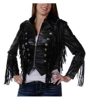 Liberty Wear Women's Fringe You Mock Neck Sheep Nappa Leather Jacket, Black - Wisconsin Harley-Davidson