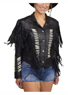 Liberty Wear Women's Bad to the Bone Fringe Sheep Nappa Leather Jacket, Black - Wisconsin Harley-Davidson