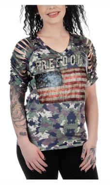 Liberty Wear Women's Hidden Gem Slit Shoulders Short Sleeve Tee - Camouflage - Wisconsin Harley-Davidson