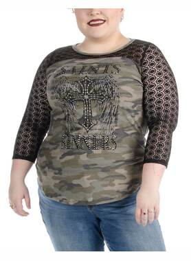 Liberty Wear Women's Saints and Sinners Thermal Long Sleeve Top - Camouflage - Wisconsin Harley-Davidson