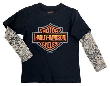 Harley-Davidson Little Boys' Bar & Shield Mesh Tattoo Long Sleeve Tee, Black - Wisconsin Harley-Davidson