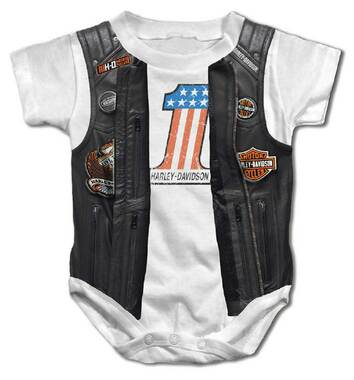 Harley-Davidson Baby Boys' Printed Faux Leather Vest Short Sleeve Creeper, White - Wisconsin Harley-Davidson