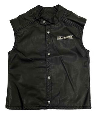 Harley-Davidson Little Boys' Embroidered Patches Snap Faux Leather Vest - Black - Wisconsin Harley-Davidson