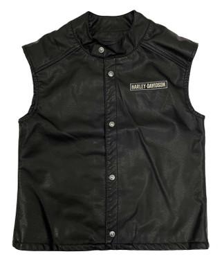 Harley-Davidson Big Boys' Embroidered Patches Snap Faux Leather Vest - Black - Wisconsin Harley-Davidson