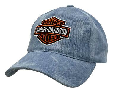Harley-Davidson Men's Bar & Shield Adjustable Slide Denim Baseball Cap - Blue - Wisconsin Harley-Davidson